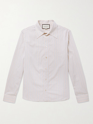 Gucci Slim-Fit Striped Embroidered Cotton Shirt