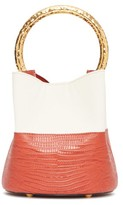 Marni Pannier Lizard-effect Leather Bucket Bag - Womens - Orange Multi