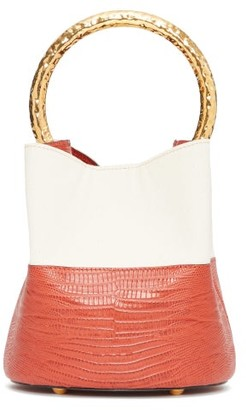 Marni Pannier Lizard-effect Leather Bucket Bag - Womens - Orange Multi