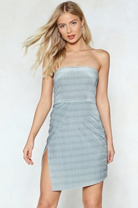 Nasty Gal Womens No Straps Attached Check Dress - Grey - 8