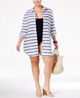 Dotti Plus Size Tulum Striped Shirtdress Cover-Up