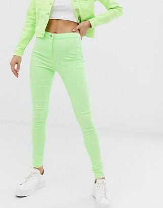 Parisian skinny high waist jeans in neon green