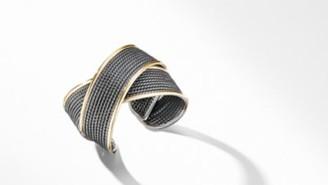 David Yurman Dy Origami Large Cuff Bracelet In Blackened Silver