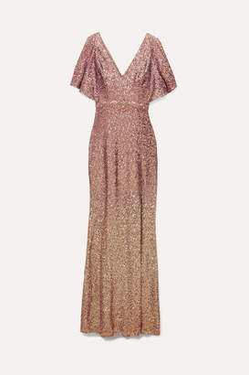 Marchesa Ombre Sequined Satin Embellished Gown - Blush