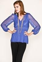 NU Collective Silk Chiffon Top in Cornflower Blue