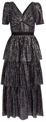 Self-Portrait Sequin-Striped Tiered Midi Dress