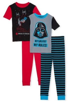 Star Wars Boys Exclusive 6-12 Short Sleeve Long Pant Cotton Tight Fit Pajamas, 4-Piece Set