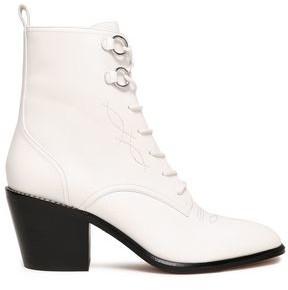 Diane von Furstenberg Embroidered Leather Ankle Boots