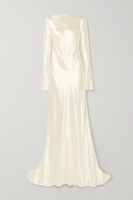 DANIELLE FRANKEL Simone Open-back Draped Wool And Silk-blend Satin Gown - Ivory