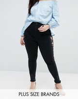 New Look Plus New Look Curve Embroidered Skinny Jeans