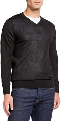 Neiman Marcus Men's Merino/Silk V-Neck Sweater