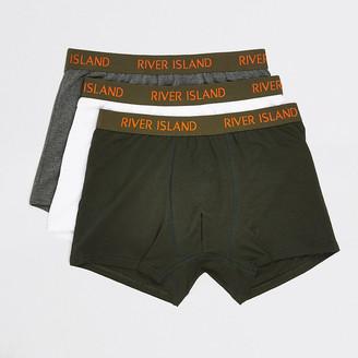 River Island Khaki RI waistband trunks 3 pack