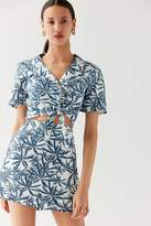 Urban Outfitters Linen Palm Tree Wrap Mini Skirt