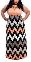BiggerStore Sexy Womens BOHO Sleeveless Beach Evening Party Long Maxi Plus Size Dress (4XL, )