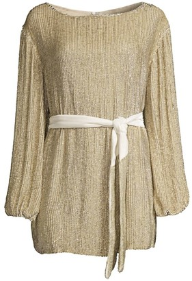 retrofete Grace Sequined Split Back Mini Dress