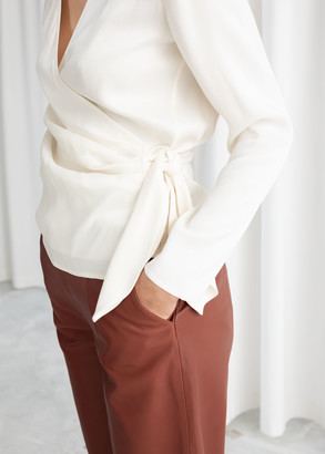 And other stories Side Tie Satin Blouse
