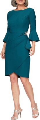 Alex Evenings Bell Sleeve Sheath Dress