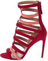 Alaia Suede & Stingray Cage Sandals