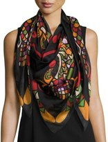 Givenchy Egyptian Wings Square Silk Chiffon Shawl, Multicolor