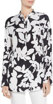 St. John Floral Print Stretch Silk Tunic