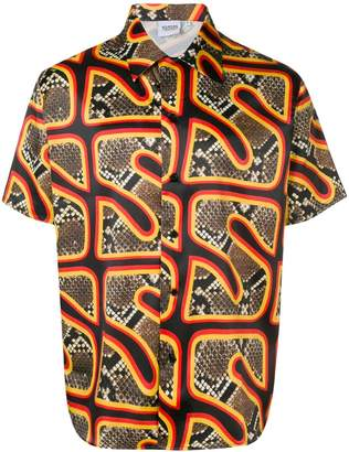 SSS World Corp logo snakeskin print shirt