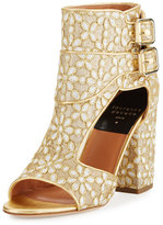 Laurence Dacade Rush Floral-Embroidered Open-Toe Bootie, Gold