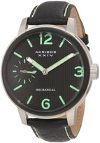 Akribos XXIV Men's AK495GN Essential Mechanical Leather Strap Watch