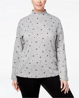Karen Scott Plus Size Mock-Neck Cat-Print Top, Only at Macy's