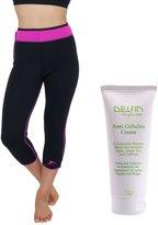 Delfin Spa Women's Heat Maximizing Neoprene Exercise Capris and Anti-Cellulite Cream, PINK, Medium