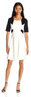 """XOXO Women's 34 1/2"""" Colorblocked Fit and Flare Dress"""