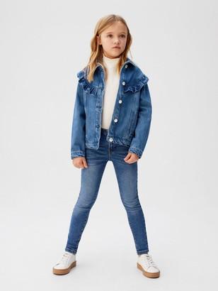 MANGO Girls Frill Detail Denim Jacket - Blue