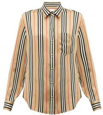 Burberry Icon-stripe Silk Shirt - Womens - Beige Multi