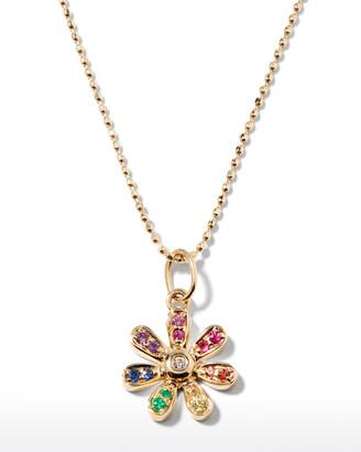 Sydney Evan 14k Rainbow Daisy Charm Necklace w/ Diamonds