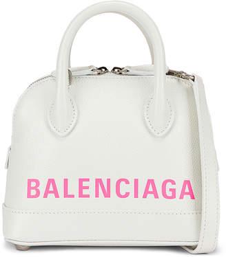 Balenciaga XXS Logo Ville Top Handle Bag in White & Fluo Pink | FWRD