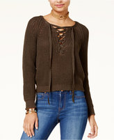Ultra Flirt Ultraflirt by Ikeddi Juniors' Lace-Up Sweater