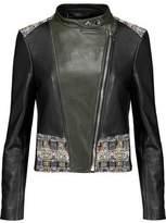 Alexander McQueen Cotton Bouclé-Paneled Faux Leather Jacket