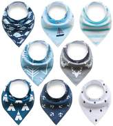 Baby Bibs Baby Rarity Bandana Drool Bibs Absorbent Organic Soft Cotton Drool Bib for Teething Toddlers Infants Babies With Adjustable Snaps,8-Pack