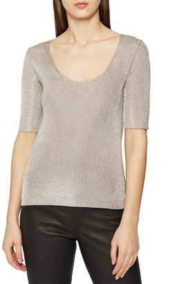 Reiss Tabby Scoop Neck Metallic Sweater