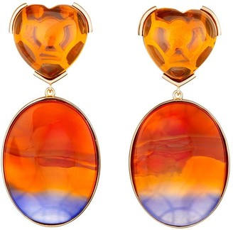 GUITA M 18kt Yellow Gold, Stripe Agate And Citrine Heart Earrings