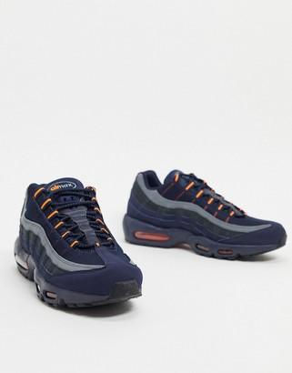 Nike 95 logo leather trainers in dark navy/orange
