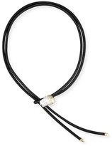 Mizuki Leather Bolo Necklace with Baroque Pearl Slider, Black