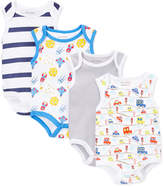Sweet & Soft Assorted Cars & Spaceships Four-Piece Bodysuit Set