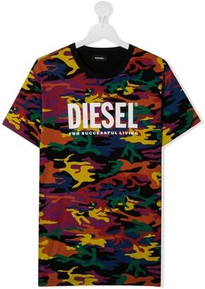 Diesel TEEN logo-print short-sleeved T-shirt