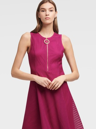 DKNY Women's Mesh Fit-and-flare Dress - Berry - Size 00