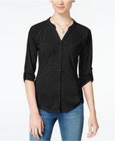 Almost Famous Juniors' Lace-Back Utility Shirt