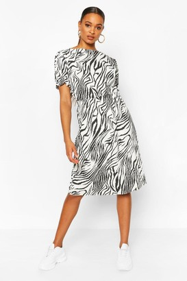 boohoo Animal Print Slash Neck Rib Midi Dress