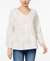 Style&Co. Style & Co Petite Bell-Sleeve Embroidered Top, Created for Macy's