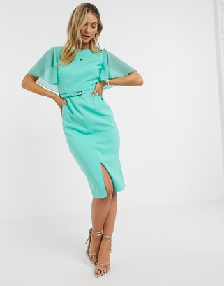 Paper Dolls Mirabel midi dress with draped sleeves in mint