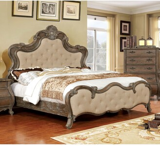 Furniture of America Yito Traditional Brown Solid Wood Panel Bed