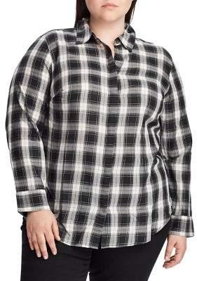 Lauren Ralph Lauren Plus Relaxed-Fit Lightweight Plaid Cotton Shirt